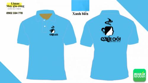 Mẫu áo thun xanh da trời - áo phục vụ cafe