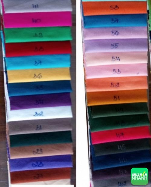 Bảng màu vải thun để khách hàng chọn lên mẫu may áo